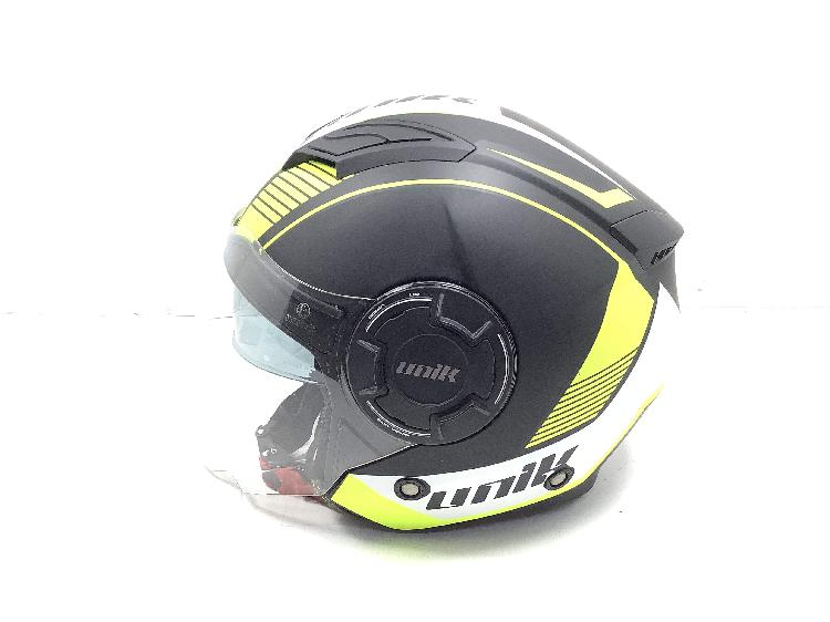 Casco jet unik gafa solar cj-11 wolf negro / amarillo fluor