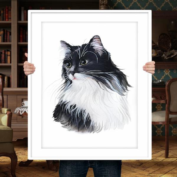 Cat portrait from photo personalized cat cat drawing pet