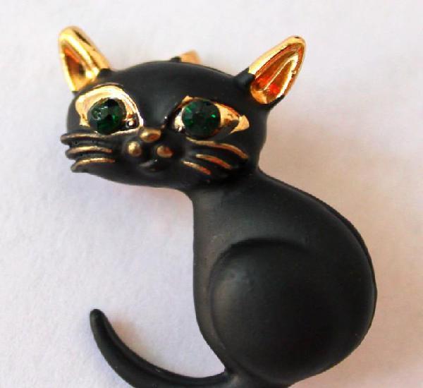 Divertido broche gatito en oro laminado y esmaltes