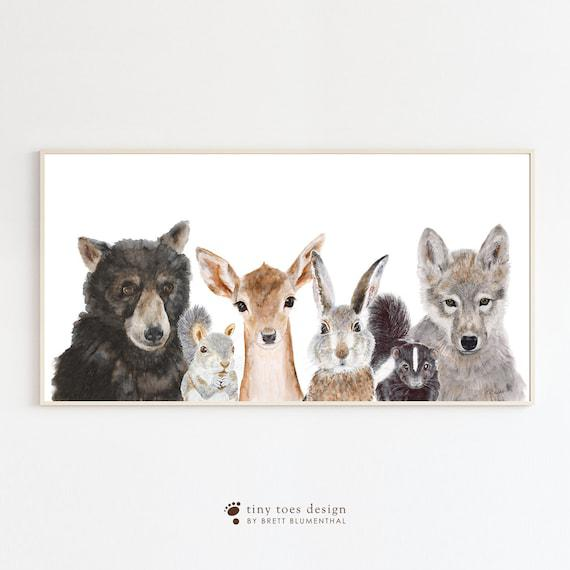 Panoramic nursery art, forest animals print, animal