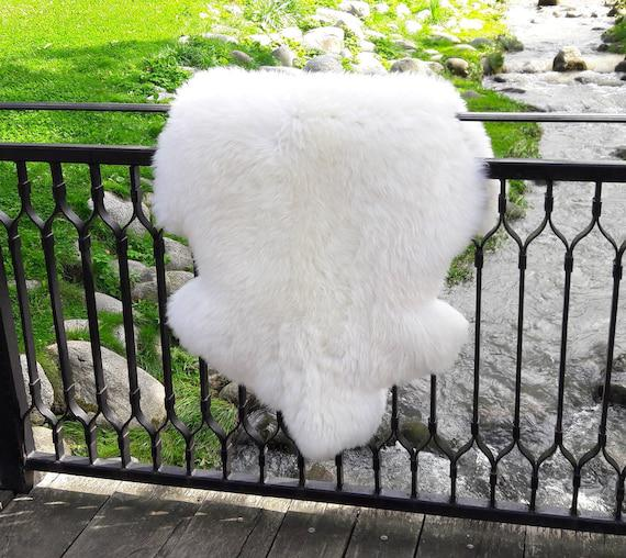 Blanco piel de oveja xxl rugo / esponjosa alfombra de piel