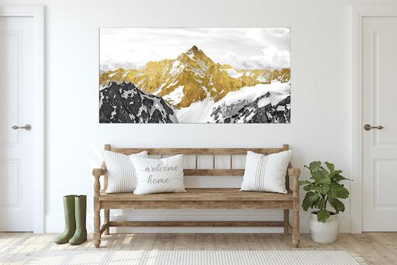 Gold mountains wall art paintings on canvas, wall pictures
