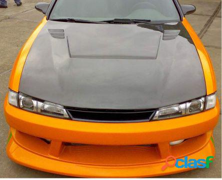 Carbon vsii style hood nissan 200sx s14 98/- 2dr coupe aeroworks carb