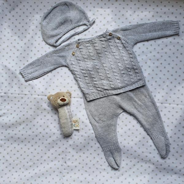 Conjunto 3 piezas color gris. talla 1-3 babydif