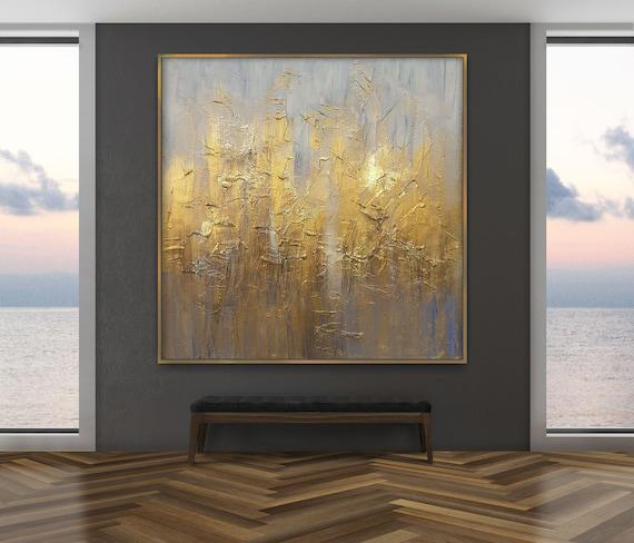 Gold leaf painting, large abstract painting on canvas,