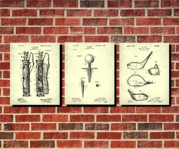 Golf patente impresión set 3 golfing wall art golfer regalo