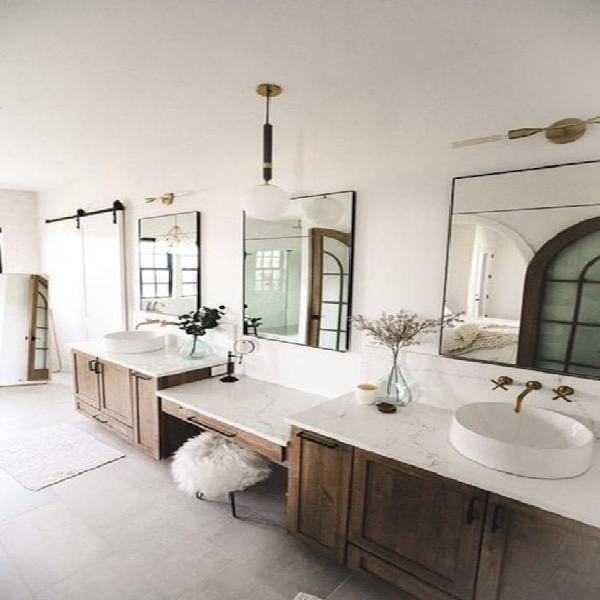 Longitud completa grande moderna pared espejo baño tocador