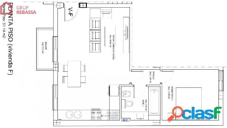 Se vende Apartamento de nueva construcción en el Pla de na Tesa de 51 m2 en el centro 1