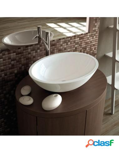 Lavabo de baño sobre encimera ovalado narvi solid surface