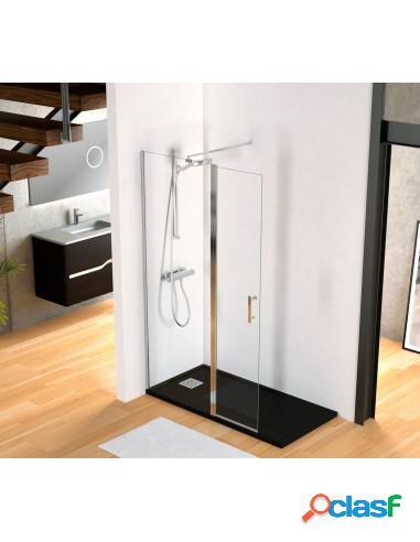 Mampara de ducha cristal fijo y puerta abatible walk in
