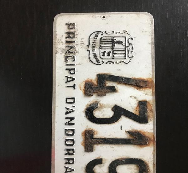 Matricula placa andorra epoca 1958-1963 - numero remachados