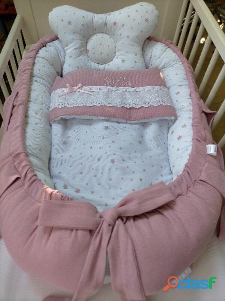 Cuco nido colecho, revercible artesanal personalizado para el descanso de tu bebé 2