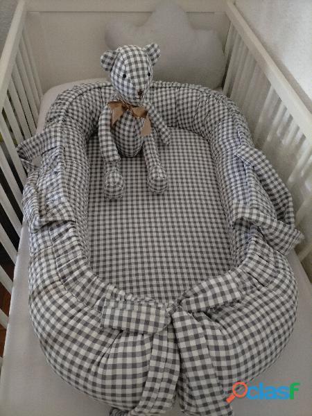 Cuco nido colecho, revercible artesanal personalizado para el descanso de tu bebé 3