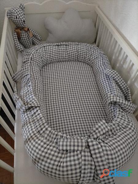 Cuco nido colecho, revercible artesanal personalizado para el descanso de tu bebé 4