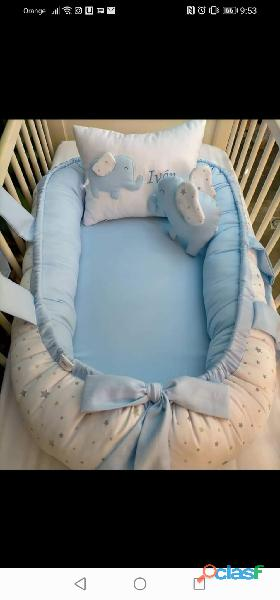 Cuco nido colecho, revercible artesanal personalizado para el descanso de tu bebé 7