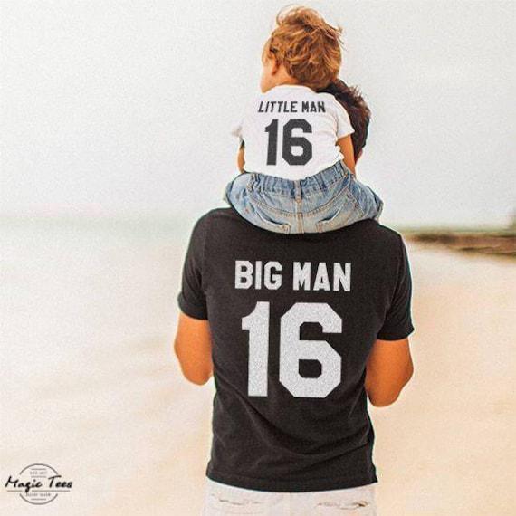 Hombre grande hombre pequeño, papá y bebé camisas a