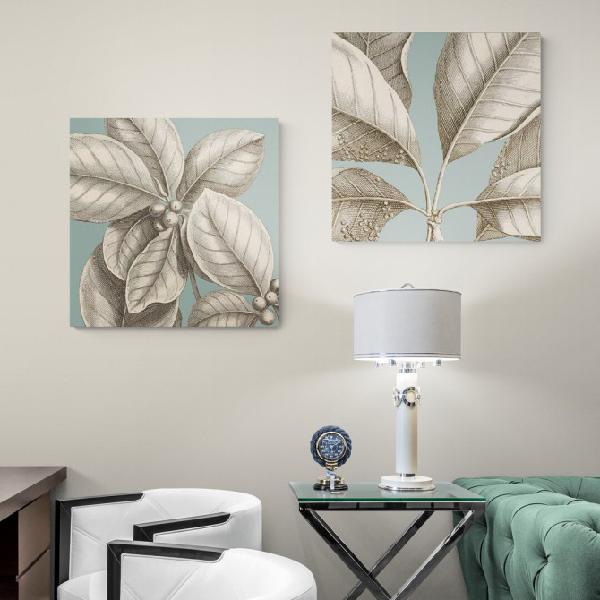 Juego de 2 cuadros tropicales con hojas de palmera