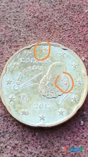 MONEDA de 0,20 céntimos euro (ERROR DE ACUÑACIÓN NO COMÚN)DOBLE ERROR EN LA ESTRELLA ENCIMA DE LA Ñ