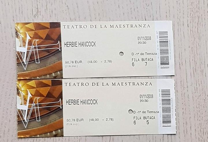 Dos entradas concierto herbie hancock, teatro de la