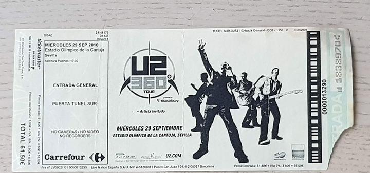 Entrada concierto u2, tour 360º, sevilla, septiembre 2010