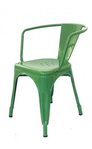 Silla tolix de color verde de acero inoxidable exterior e