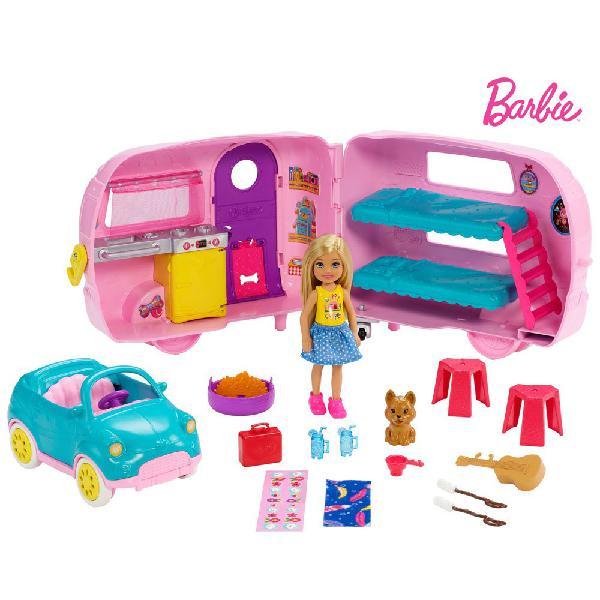 Barbie chelsea muñeca y su caravana con perrito y