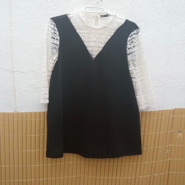 Vestido negro blanco