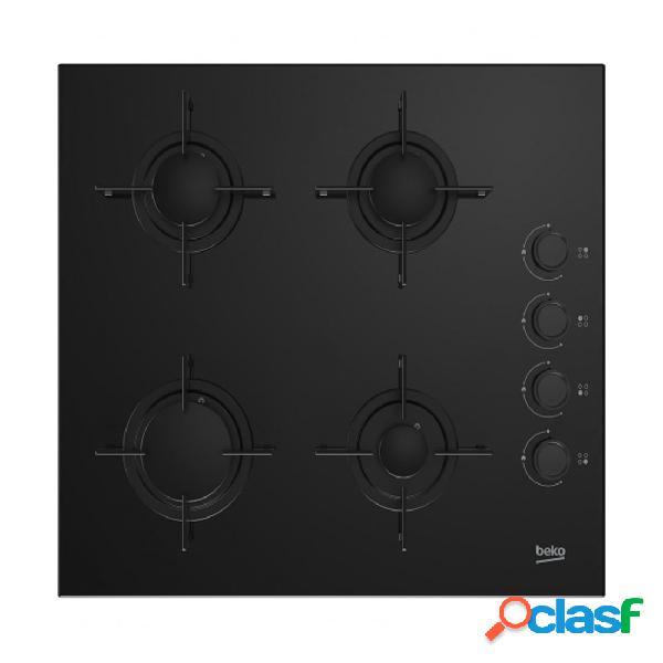 Placa gas - beko hing 64120 sb cuatro fuegos butano cristal negro