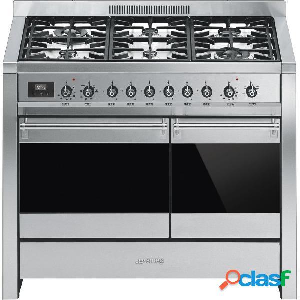 Cocina gas - smeg a2-81 eficiencia a 100 cm 6 fuegos acero inoxidable