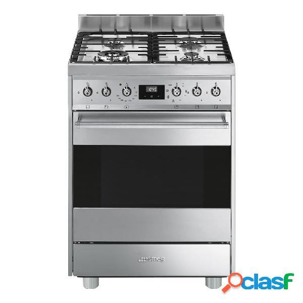 Cocina gas - smeg c6gmx9 eficiencia a 60 cm 4 fuegos acero inoxidable