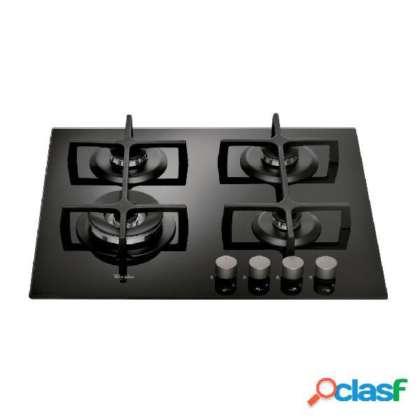 Placa gas whirlpool goa 6423nb 4 fuegos cristal negro