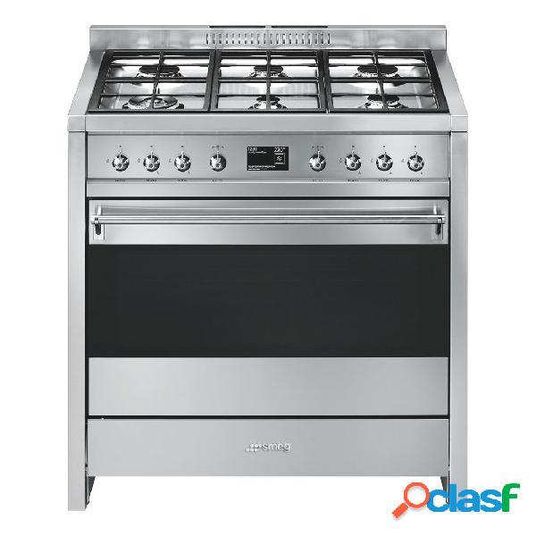 Cocina gas y eléctrica - smeg a19 eficiencia a+ 90 cm 6 fuegos acero inoxidable