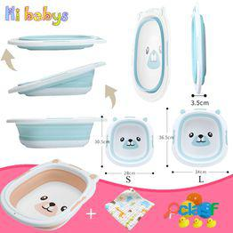 Lavabo plegable para bebés portátil lavabo de silicona no tóxico niños niño niña niños puede disfrutar ducha bañera plegable artículos de tocador para bebés suministros de baño+toalla de cara