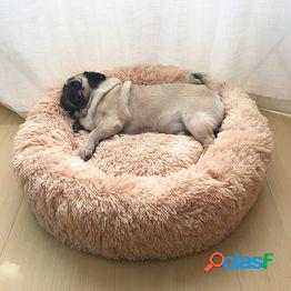 Súper suave cama para mascotas kennel dog round cat winter warm sleeping bag long plush puppy cushion mat portable cat supplies 46/50/60cm