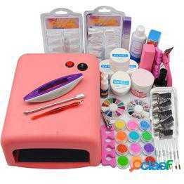 36w uv lamp nail dryer soak off uv gel top base coat primer nail art glitter tips kit nail tools set