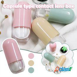 Caja de lentes de contacto cosmética, mini caja de acompañante, cápsula caja de enfermería portátil