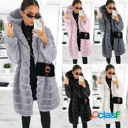 Abrigo piel de imitación piel larga con capucha