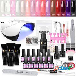 Coscelia poly uv kit 7ml kit de esmalte de gel para uñas uv led lámpara de uñas secador top base coat para profesión nail art tools set