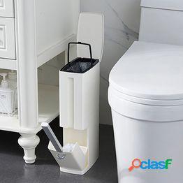 Dispensador estrecho del bolso de basura del cubo de la basura del cepillo del retrete del cuarto de baño del bote de basura