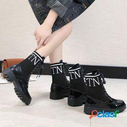 Ocio moda martin botas mujeres 2020 nuevo otoño neto rojo versátil tacón grueso calcetines universitarios botas botas cortas de motocicleta