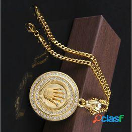 Hip hop king crown colgante collar acero inoxidable plateado color dorado iced out rhinestone charm necklace con 3mm 60cm cadena cubana