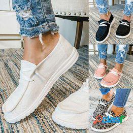 Zapatos casuales transpirables de nueva moda para mujer pisos con cordones para mujer zapatos de lona de talla grande