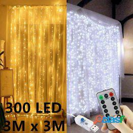 3m led luces de hadas de navidad luces de control remoto usb año nuevo guirnalda lámpara de cortina decoración navideña para el hogar dormitorio ventana