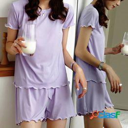 Conjunto de pijamas de seda para mujer top de manga corta+pantalones ropa de dormir 7 color sólido