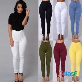 Cintura alta ocio big yard stretch feet pants womens casual jeans vintage green denim pants