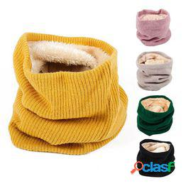 Bufanda de lana de invierno para mujeres hombres niños terciopelo engrosado o-bufanda mujer cuello bufandas cuello cálido color sólido echarpe femme hiver