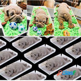 Silicona 3d shar pei dog mold fondant party cake chocolate hornear molde toppers decoración