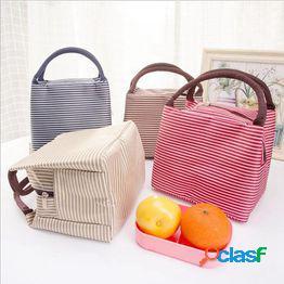 Ocio mujeres bolsa de almuerzo portátil lona raya bolsas de enfriamiento aisladas alimentos térmicos bolsas de almuerzo de picnic bolsa de lonchera para niños totalizador