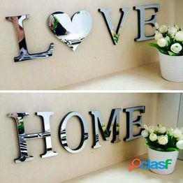 Cartas amor muebles para el hogar espejo azulejos etiqueta de la pared decoraciones de arte autoadhesivas
