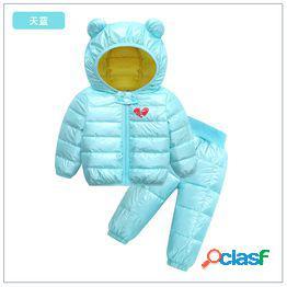 Traje de algodón para niños's niños's orejas ligeras y ligeras espacio plata caliente plata cara brillante pantalones de cintura alta dos prendas y pantalones